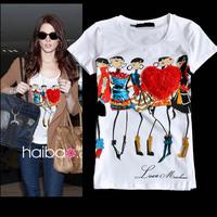 2014 fashion cartoon pattern love slim short-sleeve cotton t shirt women