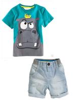 6pcs/lot new 2014 children Hippo clothing set( cotton t-shirt + short ),fashion baby boy printed shirts suits,kids clothes sets,
