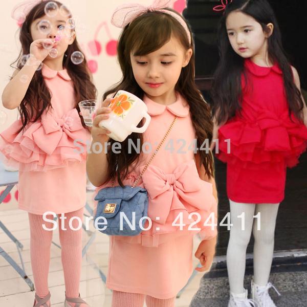 new 2014 summer girls fashion clothing tank dress 100% cotton bow chiffon yarn suspender princess one-piece dress 2 - 7 age(China (Mainland))
