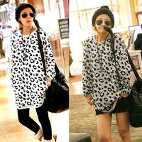 Fashion Korean Women Ladies Girs Casual Batwing Dolman Leopard Lip Print Top Long Hoodie Pullover T-shirt  BPQ474