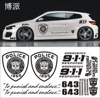 Freeshipping 12pcs/lot  police style wholebody  car sticker,fashion DIY reflective big size car styling for cruze mazda focus