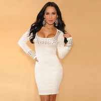 wholesale brand women 2014 spring New OL temperament ladies rivet white long-sleeved dress sexy Club prom winter dress