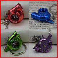 Hot sale Brilliant Blue,Purple,Red,Green Polished Chrome,Creative SpinningTurbine  Turbo  Keychain Key Chain Ring Key Fob