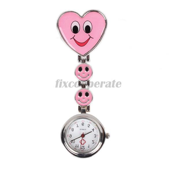 Nurse Round Quartz Wristwatch Timepiece with Heart Shape Cute Face Pink(China (Mainland))