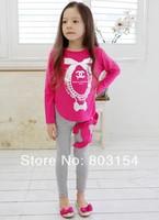 Wholesale Kids Girls T-shirt with long sleeves bronzing printing T-shirt Free shipping 5PCS/LOT