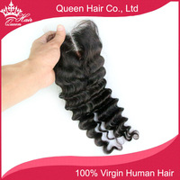 "DHL Free Shipping 8""- 18"" Lace Closure Hair Lace Top Closure Swiss Lace 4""*4""  Deep  Wave Middle Part Shedding And Tangle Free"