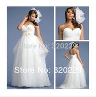 empire open back sleeveless organza vestidos de noivas High Quality A-Line sweetheart Wedding Dresses 2014  New Arrival NK-317