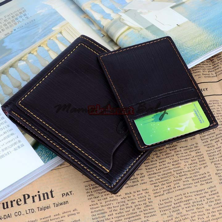 4pcs/lot New 2014 Fashion Men Wallet Synthetic Leather 9 Card Slots 2 SIM Slots 2 Billfold buses Card Holder Purse 19296(China (Mainland))
