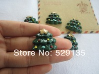 Free Shipping! Min. order is $10 (mix order), Resin Christmas Tree,  Resin Flatback Cabochons for Hair Bow Center  (25*25mm)