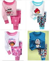 2014 Direct Selling New Pajama Kids Sets 25 Model 100% Cotton Hello Kitty Baby Summer Pajamas Long-sleeved +pants Free Shipping
