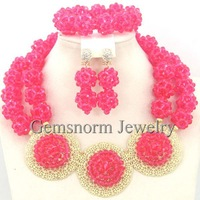 2014 Inter Color African Beads Fashion Jewelry Set Radiant Orchid Crystal Beads Necklace Jewelry Set Best Selling GS122-4