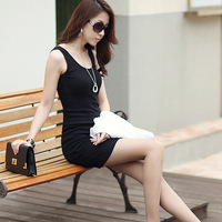 Summer 2014 slim spaghetti strap basic skirt female sexy slim hip cotton plus size tank dress 2033
