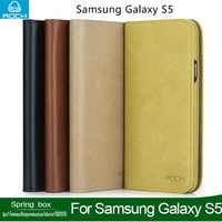 100% Genuine leather Case  For SAMSUNG Galaxy S5 i9600 ROCK Flip  Leather Case Smart Stay  Free Shipping