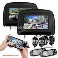 "HDMI Port 2x9"" Car DVD Headrest Player Auto Seat Monitor Video Player with Detachable Zipper & 2pcs Headphones & Russian OSD"