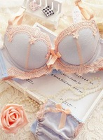 Free shipping 2014 new Korean lace and adjustable wide flanking girls push up Bra Set LMS215