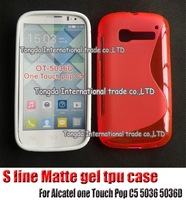 1pcs,soft s line silicone Matte gel tpu cover case shell,new arrive,For Alcatel one Touch Pop C5 5036 5036D,free shipping
