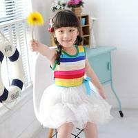Female child baby 2014 summer children's clothing suspender skirt one-piece dress skirt