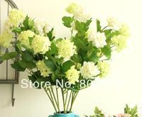 "6Pcs/lot 60cm/23.62"" Length White/Green Artificial Silk Flowers Simulation Hydrangea Three Flower Heads per Bush Home Decoration"