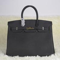 H litchi leather bag platinum package portable women's handbag 35cm bag black