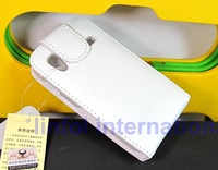 1Piece High Quality Magnetic Soft Ultra Slim Thin Genuine Real Natural Leather Flip Cover White Case Galaxy Ace S5830 5830 Free