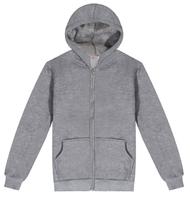 Blank men's hoodies grey hoody 100% cotton 400gsm zipper hoodies with fleece lining long sleeve hoodie customs printing logo