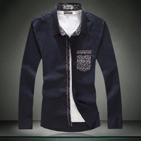 man fashion men shirt 2014 100% cotton plus size fashionable casual male long-sleeve shirt Free shiping