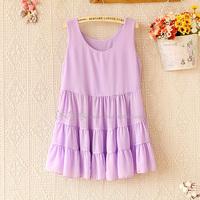 2014 spring and summer women's sweet o-neck sleeveless dress cute layered chiffon shirt 0331