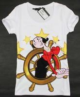 2014 New arrival cartoon print beading decoration short sleeve cotton t shirt women S, M, L, XL Wholesale price
