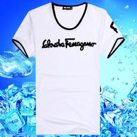 2014 summer casual short-sleeved T-shirt Slim Men's streets v-neck short-sleeve T-shirt bottoming shirt  Y0051