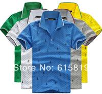 Summer Boy's/Men's Dot&Anchor Pattern Patchwork T-shirt/ men's short sleeve Sport T-shirt with turn-down collar,free shipping