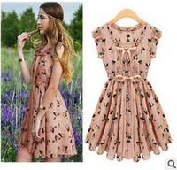 2014 new fashion women's pleated summer Feifei sleeve print dress deer