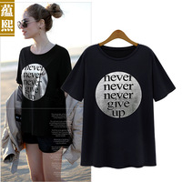 2014 summer street fashion letter print cotton short-sleeve T-shirt casual loose short sleeve shirt female