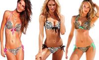 2014 New Fashion  multicolor Leopard  and zebra Sexy Bikini Set Push Up Swimwear  Swimsuit Brand Style Women Bikinis C09