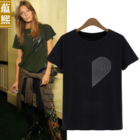 2014 summer street fashion heart print o-neck cotton short-sleeve T-shirt female solid color basic shirt