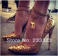 2014 most popular sexy lady shoes gold lock luxury womens high heels gz pumps free shipping