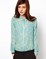 New 2014 Fashion Women Blouses Hot Selling Casual dog/Star Shirt Autumn Summer Blusas Winter Woman Printed Blouse
