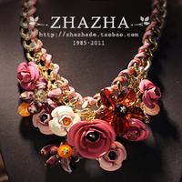 Super-elevation zhazha fashion metal chain pink metal three-dimensional flowers necklace