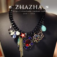 Zhazha exquisite black chain vintage brooch pendant necklace female gift