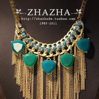 Zhazha treasures dark purple resin tassel vintage fashion collar necklace