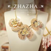 Zhazha sweet powder orange decorative pattern dull three-dimensional flower metal chain necklace female gift