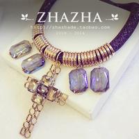 Zhazha exquisite gauze crystal stone chain cross crystal pendant necklace female gift