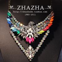 Zhazha vintage fashion crystal eagle colnmnaris necklace