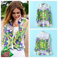 Women Vintage Prints Off-shoulder Chiffon Shirts Ladies Fashion Blouse