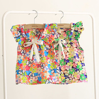 2014 NEW summer large-grained bow girls clothing baby child chiffon short-sleeve shirt Free shipping