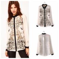 Epaulet belt print blouse brand blusas femininas spring 2014 summer New Fashion Women blouse shirt chiffon