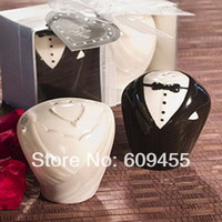 Best Selling High Quality Wedding Favors Bride and Groom Salt and Pepper Shakers+100sets/lot+FREE SHIPPING(RWF-0001P)