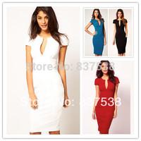2014 Sexy Women V Neck Short Sleeve Elegant Ladies' Fashion Celebrity Pencil Dress Evening  Party Midi Length Slim Bodycon Dress
