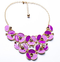 Alloy diamante dribble Women Necklace Purple, orange Travel to commemorate diamante Ms.Necklace Free shipping