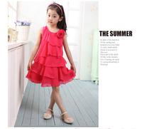 Summer sleeveless performance  princess girl dance dress