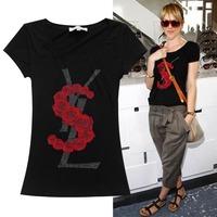 2014 fashion star style diamond letter short-sleeve cotton t shirt women 2colors S,M,L,XL Free shipping